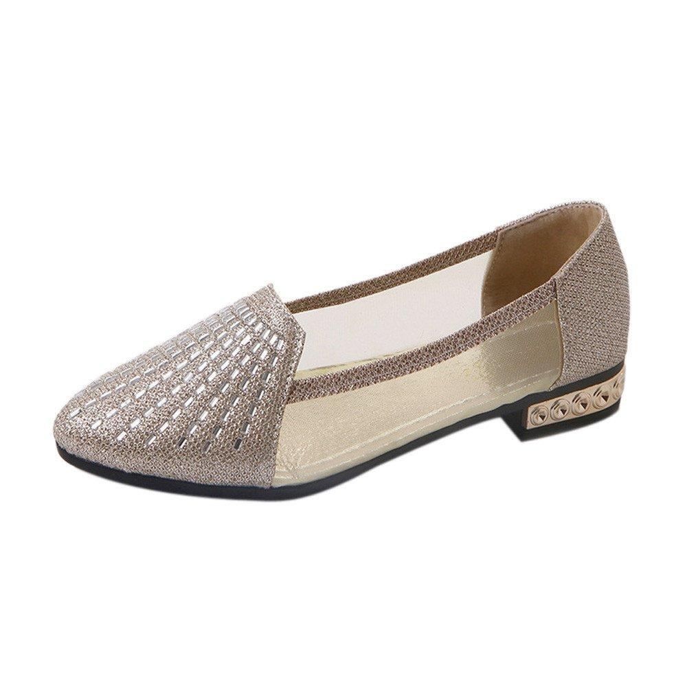 Femme Chaussures,Femmes Chaussures Chaussures Bateau Chaussures Peu Profonde Travail Décontracté Bout Pointu Creux De Chaussures,Baskets Mode(35,Argent)