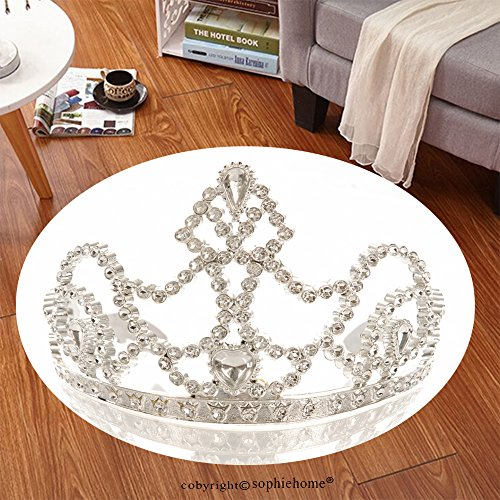 Sophiehome Soft Carpet 32107225 crown or tiara isolated on a white background with reflection Anti-skid Carpet Round 47 inches (Queen Mary Tiara)