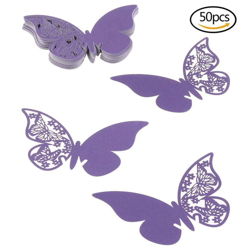 Butterfly Wine Glass Cup Card,Lovewe Butterfly Wedding Party Table Number Name Paper Place Cards Wine Glass Cup(50PC) (purple) by Lovewe_Cup Card (Image #4)