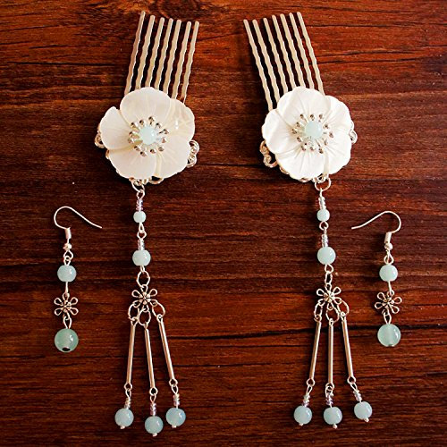 usongs Colores Meng Han Chinese clothing costume handmade jewelry comb step shake hairpin + tassel earrings Antique jewelry]()