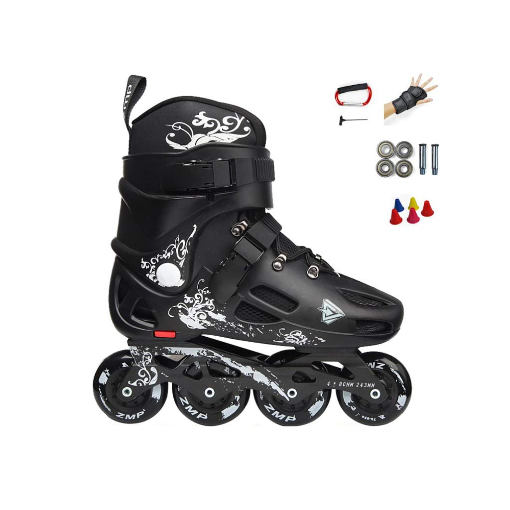 Ailj インラインスケート、 大人用1列スケート プロの男性と女性 スケート 初心者 フルセット(黒) (色 : D, サイズ さいず : EU 35/US 4/UK 3/JP 22.5cm) B07MYZ78TN EU 40/US 7.5/UK 6.5/JP 25cm|D D EU 40/US 7.5/UK 6.5/JP 25cm