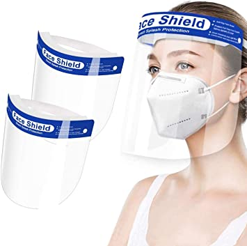 Pack Of 10 Transparent Safety Face Shield Full Protection Cap Wide Visor New