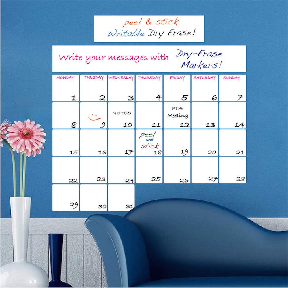Monthly Dry Erase Office Decor - Monthly Dry Erase Wall Decal Productive Office Removable Decor Sticker, b77