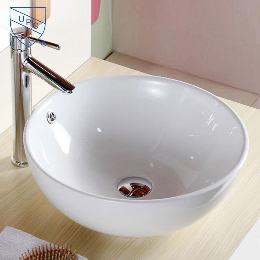 Decoraport White Round Ceramic Bathroom Kitchen Vessel Sink Porcelain Vanity Above Counter Basin Bowl (Cl-1027)