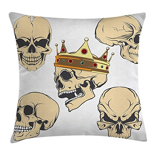 Wbsdfken Skull Decor Throw Pillow Cushion Cover, Skulls Different Expressions Evil Face Crowned Death Monster Halloween, Decorative Square Accent Pillow Case 18x18 Inch Sand Brown Yellow -