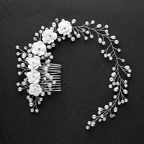 1PC Bridal Flowers Faux Pearl Wedding Girl Tiara Floral Headdress Headband Hair Comb M15