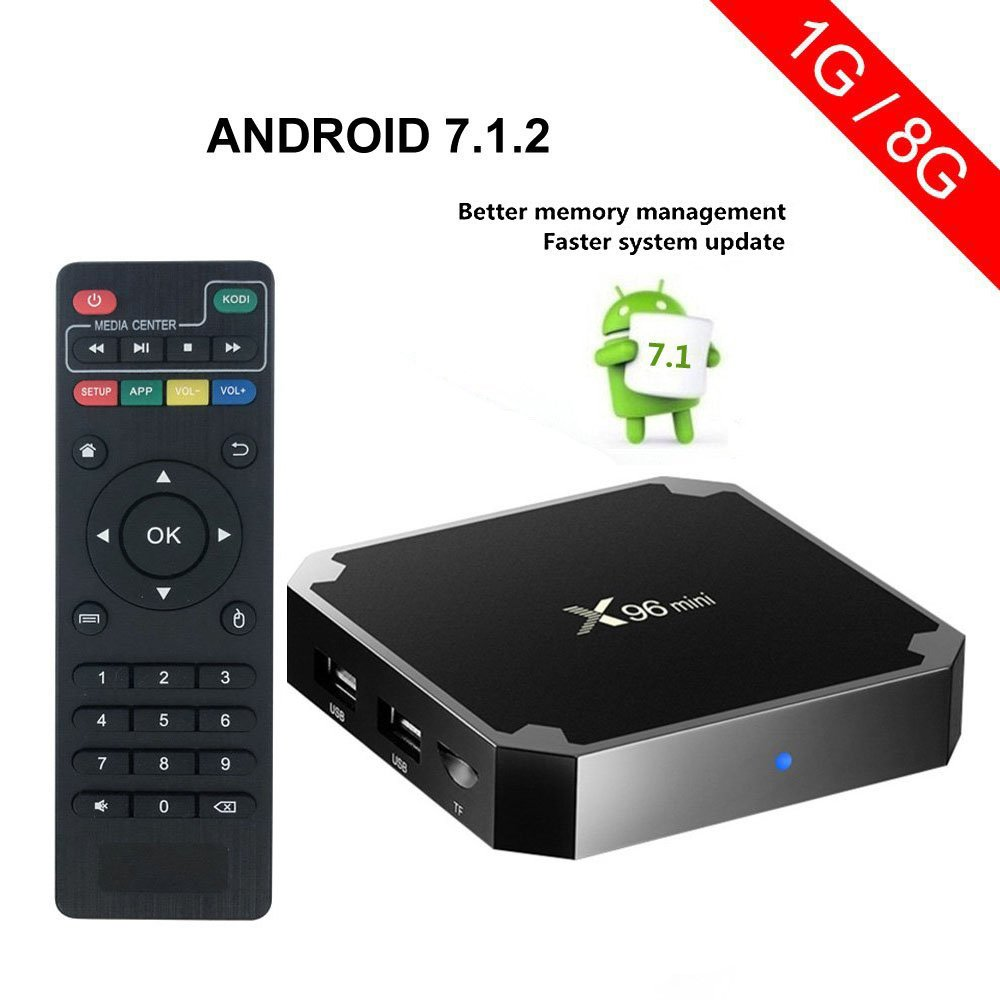 VGROUND X96 Mini Set-top Box Amlogic S905W Quad-core 64 Bit DDR3 Support 4K UHD 2.4GHz WiFi & LAN VP9 DLNA H.265 64 Bit Android TV Box -1G/8G (Dispatched from CA)