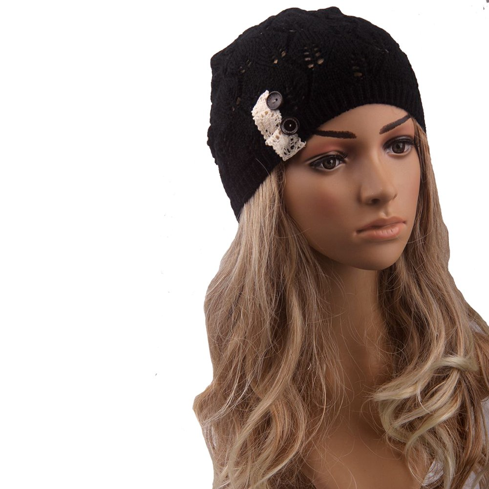 EUBUY Women Lace Buttons Slouchy Knitted Skull Hat Warm Beret Beanie Winter Hedging Hat Ski Cap