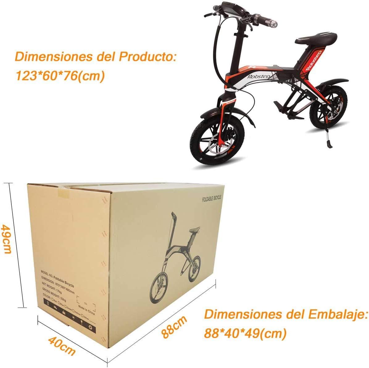 """Robstep Bicicleta Eléctrica Plegable 14"""",Bocina Bluetooth y USB para Cargar Teléfono Celular,Pantalla Inteligente,Carga Máxima 120 kg,Certificación CE/FCC(Rojo Urbano): Amazon.es: Deportes y aire libre"""