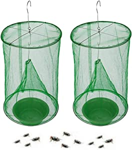 Annay Ranch Fly Trap with Food Bait Tray (2021 New UpgradeFly Traps) Flay Catcher Reusable Fly Catcher Cage for Indoor or Outdoor Family Farms, Park, Restaurants (2 Pack)