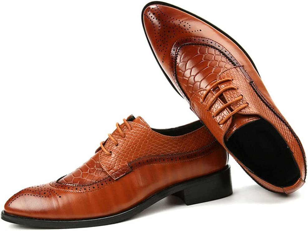 MALPYQ Mens Classic Fashion lace-up Shoes Classic Oxford Dress lace-up Shoes