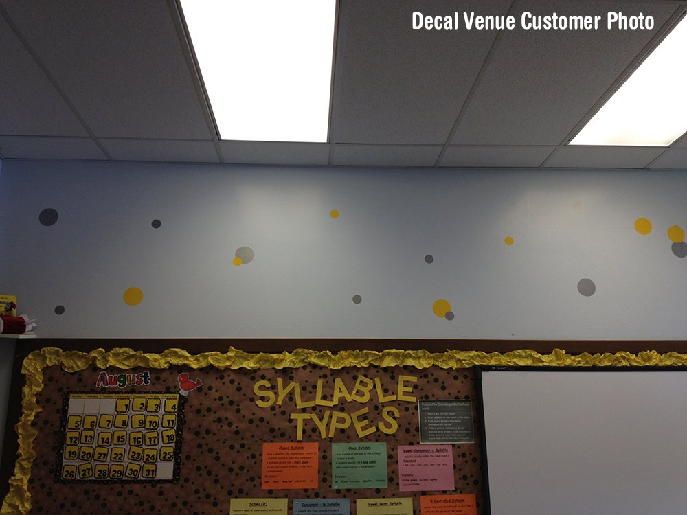 Yellow//Metallic Silver Vinyl Wall Stickers 2 /& 4 Circles 30 Decals