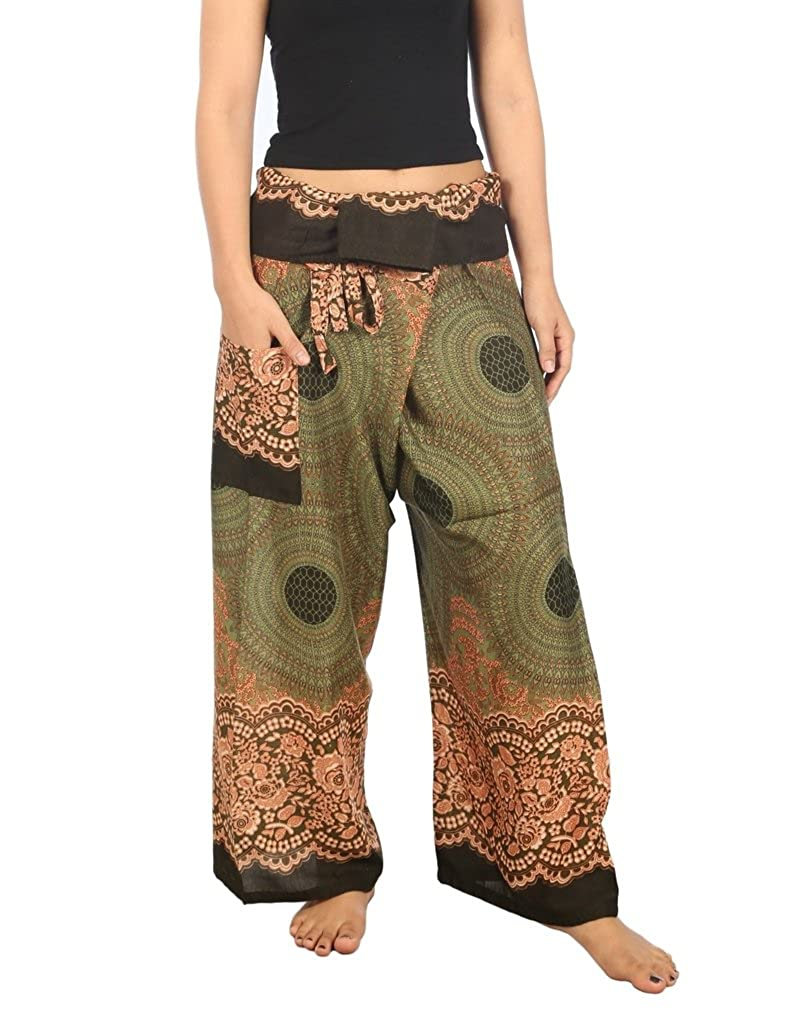 Green pink Lannaclothesdesign Women's Thai Fisherman Pants Yoga Trousers Wide Legs Pants