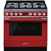 Smeg 90cm Cooker, 6 Burner Gas Hob, Red Portofino,CPF9GMR - 1 Year Warranty