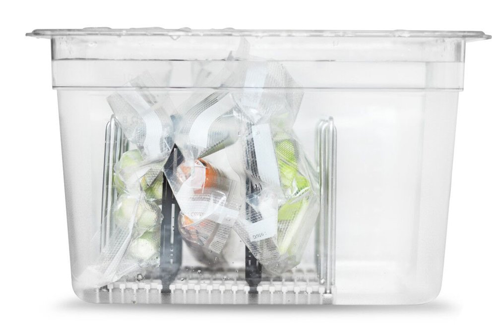 EVERIE Weight-Added Sous Vide Rack Divider for Sous Vide Even Heating, 5 Count Plastic Dividers and 2 Stainless Steel Sous Vide Weights, Black by V EVERIE (Image #3)