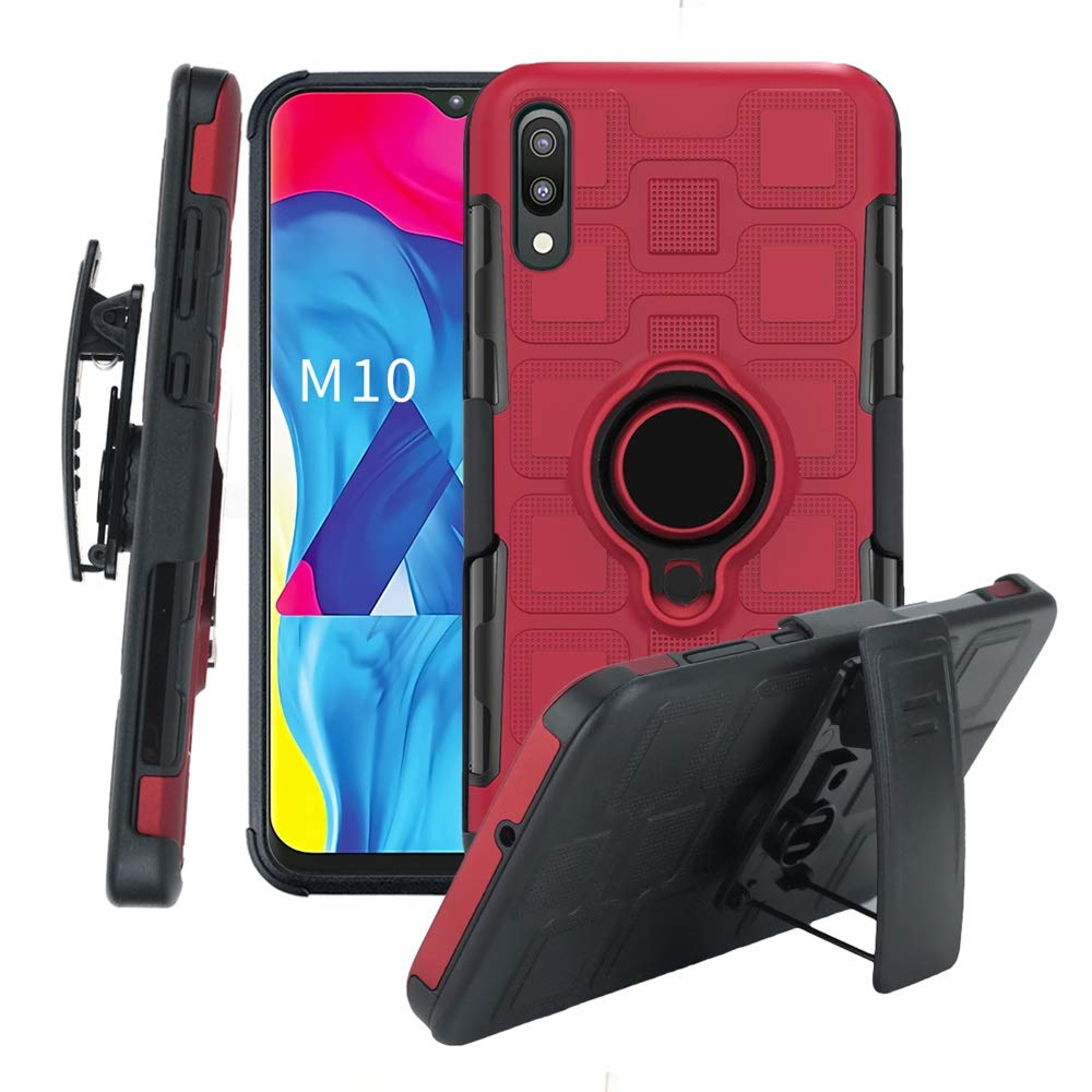 Lecover 3 in 1 Heavy Duty Protective Case for Samsung Galaxy A10,Car Magnetic Stand Adjustable Finger Rings Kickstand Cover with Belt Clip for Samsung Galaxy A10