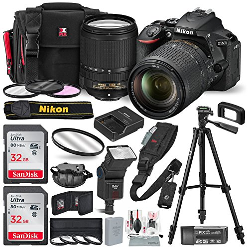 Nikon D5600 DSLR Camera with NIKKOR 18-140mm Lens w/2 x 32GB Memory Card + Digital Slave Flash, Filters & Macro close-up set, Quick Release Shoulder Strap + Xpix accessories and Deluxe Bundle