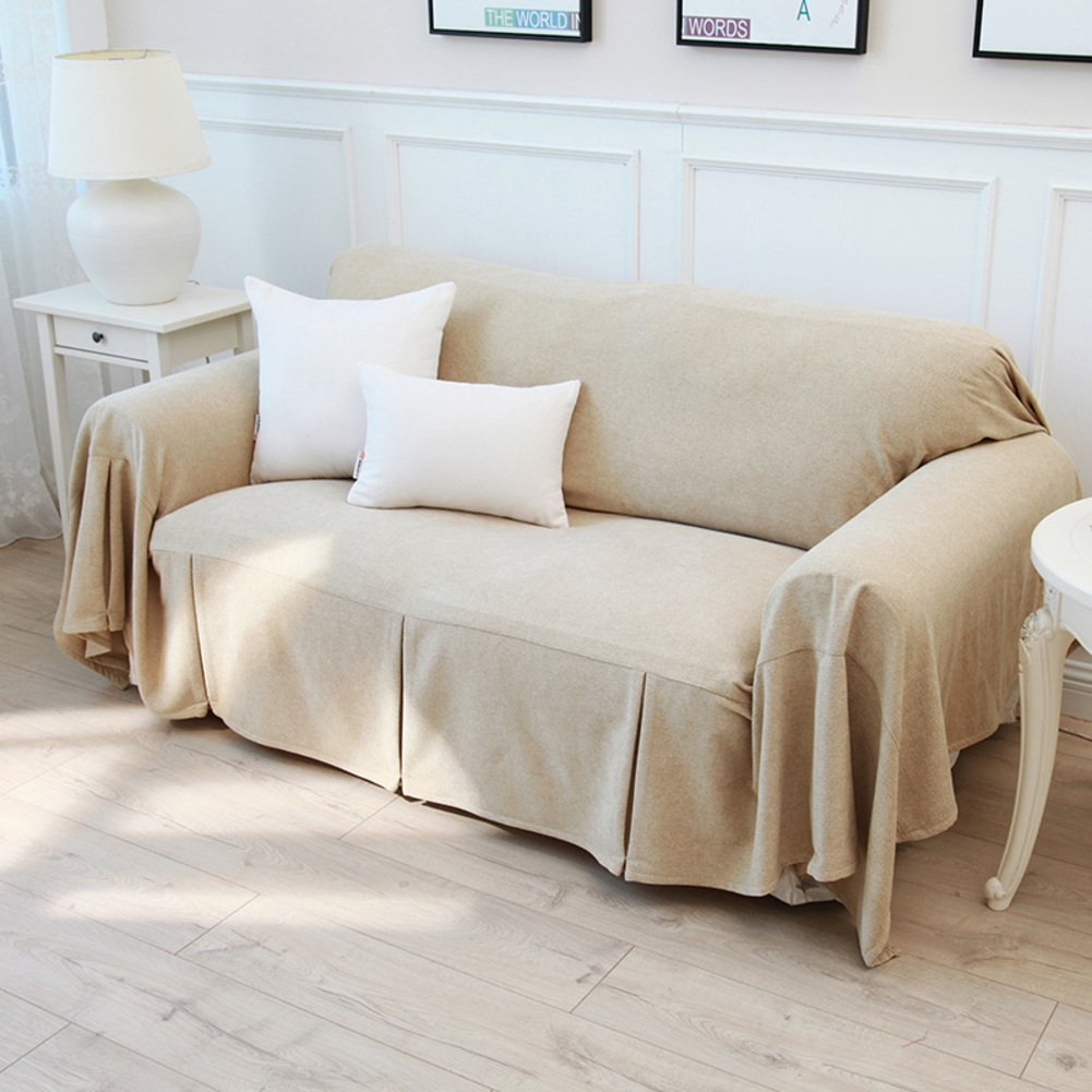 Surefit sofa slipcovers 1-piece,Cotton anti-slip wear resistant pure color sofa cover protector for 3 cushion couch,Armchair,Loveseat and l shaped sofa-khaki 360x180cm(142x71inch)
