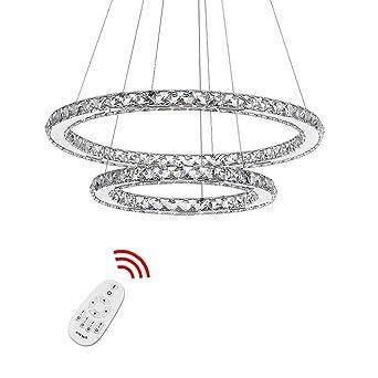 HJ® 92W 2 Ringe LED Deckenleuchte Dimmbar Mit Fernbedienung Kristall Design  Pendelleuchte Schlafzimmer Kreative Kronleuchter