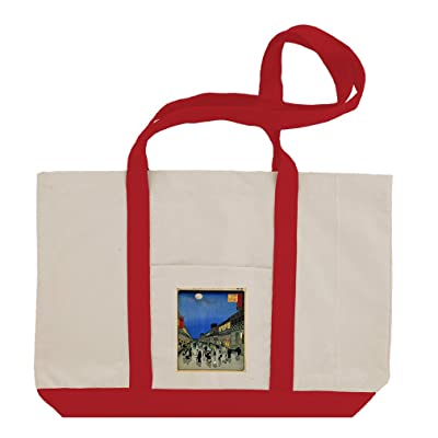 Nihon Embankment (Hiroshige) Cotton Canvas Boat Tote Bag Tote