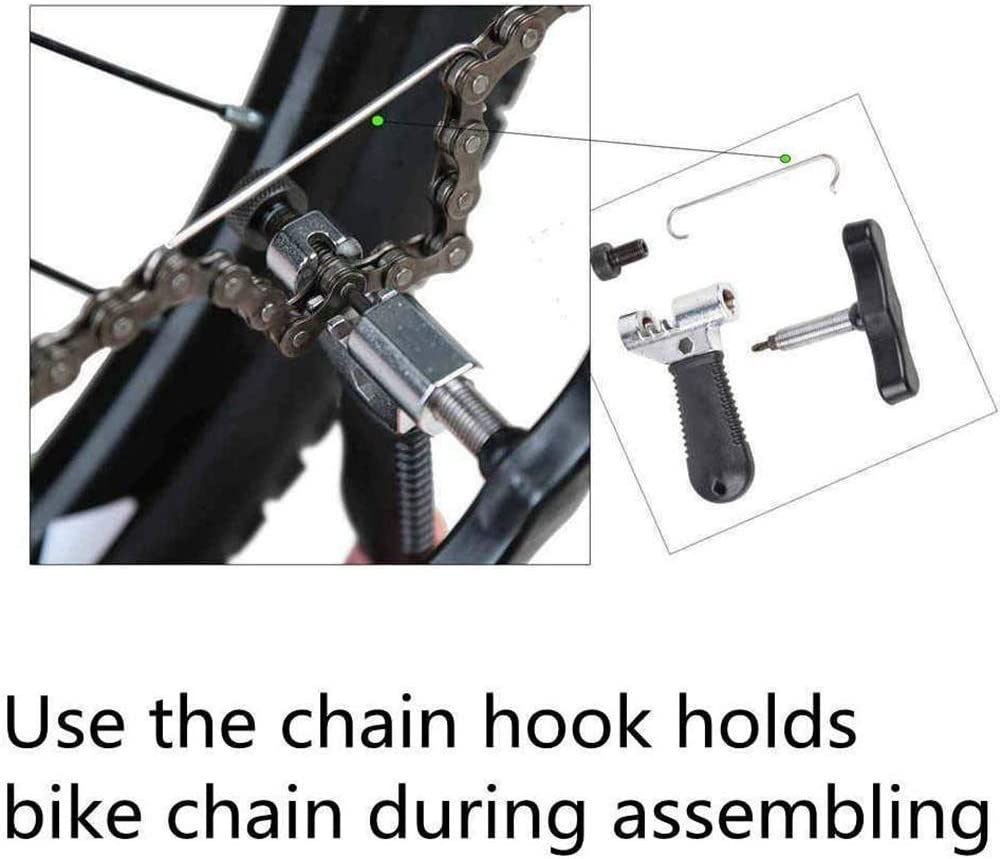 Crank Puller Extractor Chain Splitter with Bike Spoke Wrench SASKATE 5pcs Bicycle Tools Kit Freewheel Removal Wrench Sprocket Lockring Remover Bottom Bracket Removal