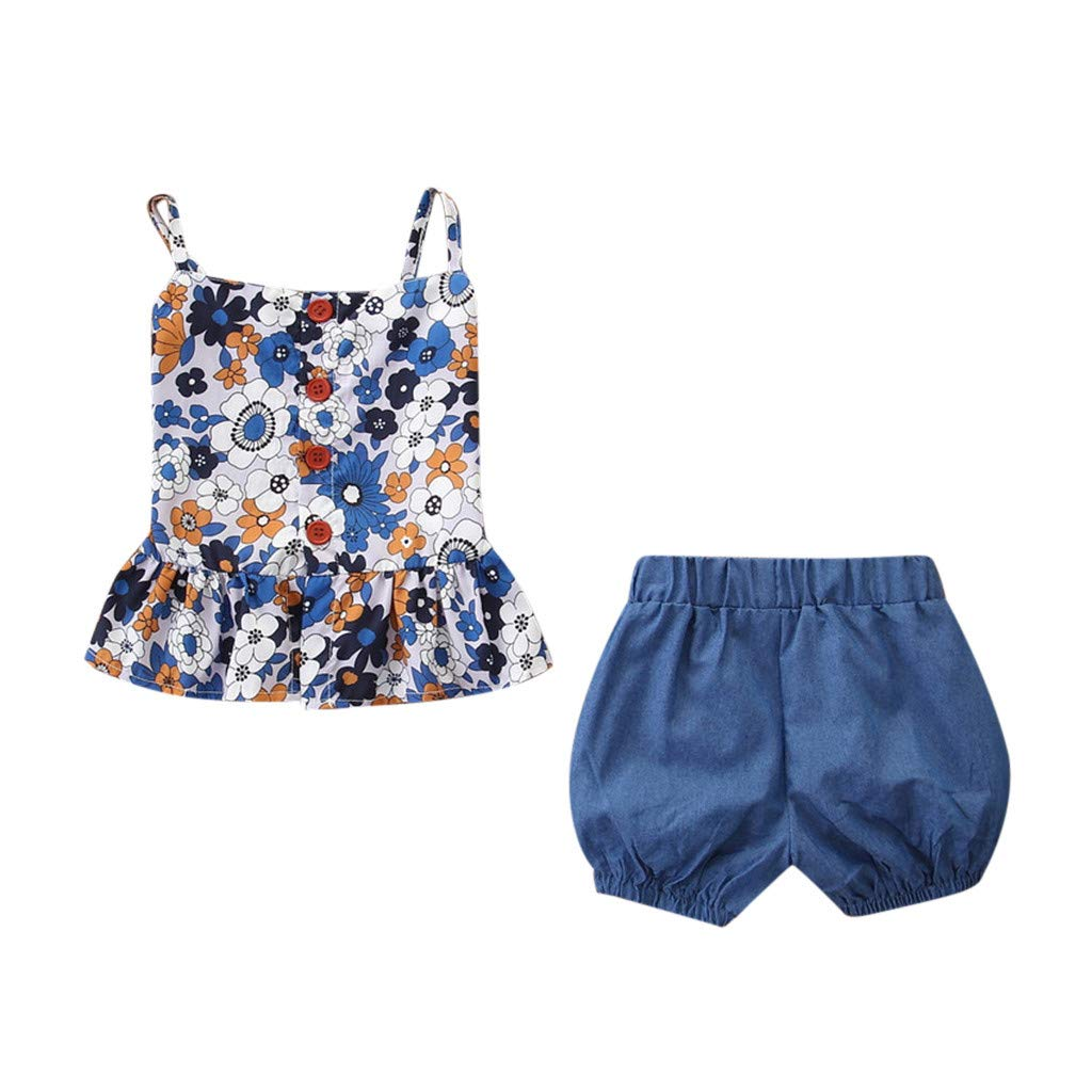 2PCS Toddler Kids Baby Girls Outfits Clothes Printing T-shirt Vest+Shorts Set