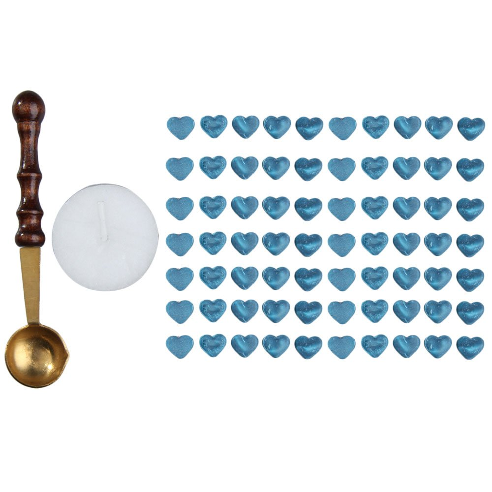 Sealing Wax, Nelnissa 1 Set Blue Sealing Wax Beads Heart Shaped with Melting Spoon Candle Pack
