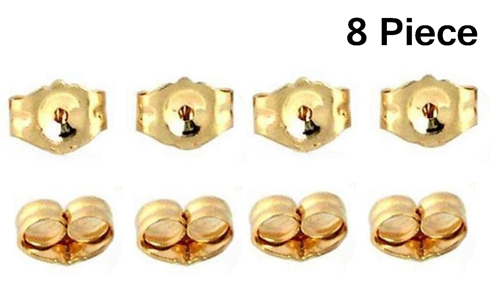 8-Piece 14K Yellow Gold Earring Backs Replacement Earring Backs by NIGHT-GRING