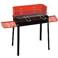 Grillstation schwarz XXL Basis Balkon Garten Picknick ✔ Seitentische beidseitig ✔ eckig ✔ tragbar ✔ stehend grillen ✔ Grillen mit Holzkohle ✔ mit Station