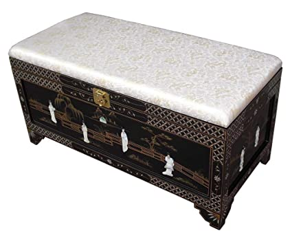Outstanding Oriental Chinese Furniture Hand Painted Storage Ottoman Settle Bench With Cream Cushion Seat Genuine Mother Of Pearl Storage Chest Evergreenethics Interior Chair Design Evergreenethicsorg