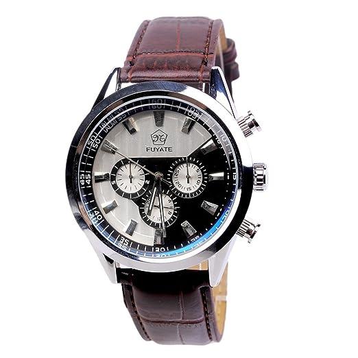 Camaleón Moda tres negocio automática los relojes mecánicos de alta gama clásicos reloj mecánico de la correa de cuero ocasional de seis pines: Amazon.es: ...