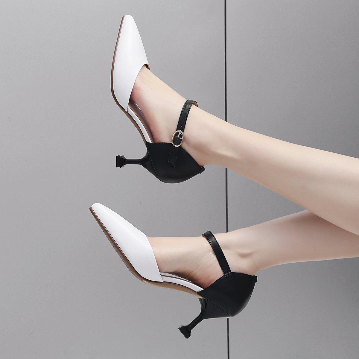 MDRW-Lady/Elegant/Arbeit/Freizeit/Feder 6 Cm High Heels Baotou Sandalen Mode Sexy Sexy Sexy Katze Und Ferse Einzelne Schuhe Schwarz 38 8437c8