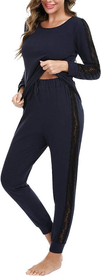 iClosam Pijamas Invierno Largo Encaje para Mujer,Pijama Set Suave y Comodo Ropa de Casa Dormir Casual Talla Grande S-XXL