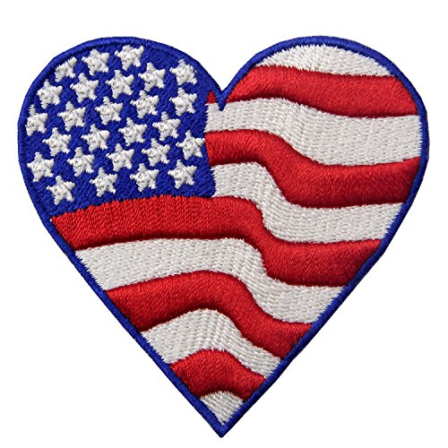 EmbTao Embroidered Heart Shaped USA Flag America Iron on Sew On (Heart Flag Embroidery)
