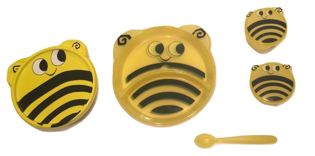 Animal Friends Bee 3 Piece Plastic Dining Set ~ Divided Plates, Snack Containers with Spoons, Travel Bowl with Lid