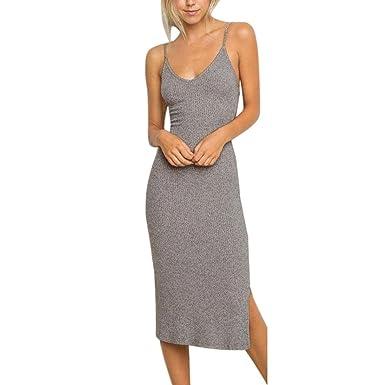 22c2a0f1634 DAY8 Robe Femme Chic Soiree Mi Longue Robe Femme Été 2018 Grande Taille Dos  Nu Bustier
