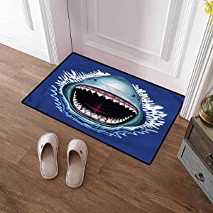 SCOCICI1588 Bath Mat Shark, Attack Open Mouth Bite Rubber Door Mat Indoor Outdoor, Waterproof, Easy Clean 16 x 24 Inch