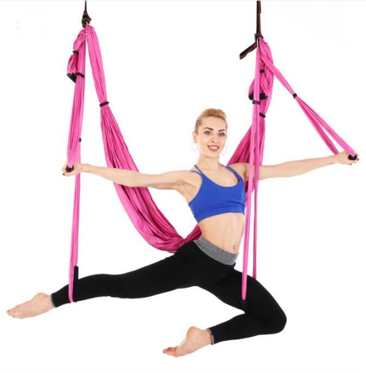 Chaiyan Air Yoga Hängematte 6 Griff Familie Umgekehrt Fitness Hängematte Ohne Stretch Starke Yoga Hängematte (Farb-Multiple-Choice)