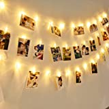 Photo String Lights, Greenclick LED String Lights Indoor 40 LEDs Clips Holder,Battery-Operated,  8 Modes Remote Hanging Photos Pictures Cards for Bedroom Christmas Party Decoration