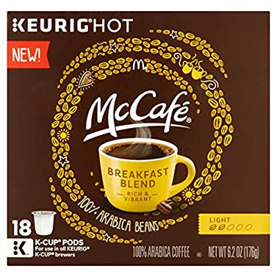 McCafe Breakfast Blend Coffee K-Cup Pods, 18 count, 6.2 oz