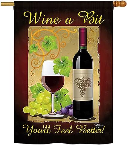 Amazon Com Wine A Bit Indoor Outdoor Sublimation Flag 28 X 40 17021 Garden Outdoor