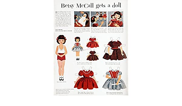 Amazon Com Girls Fashions 1952 Npage From The September 1952 Issue Of Mccalls Magazine Featuring The Character Betsy Mccall A Paper Doll Whose Cut Out Dresses Were Based On Actual Fashions Manufactured By The