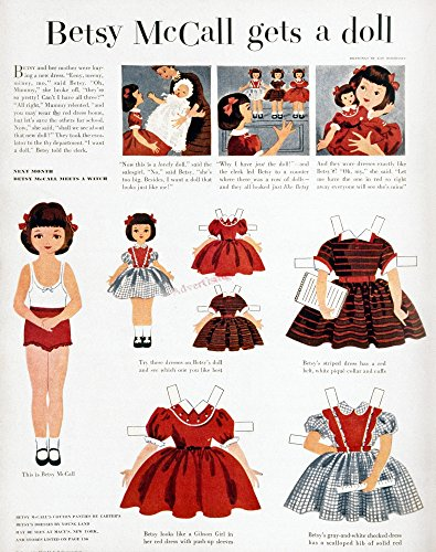 Girls Fashions 1952 Npage From The September 1952 Issue Of MccallS Magazine Featuring The Character Betsy Mccall A Paper Doll Whose Cut-Out Dresses Were Based On Actual Fashions Manufactured By The Ma