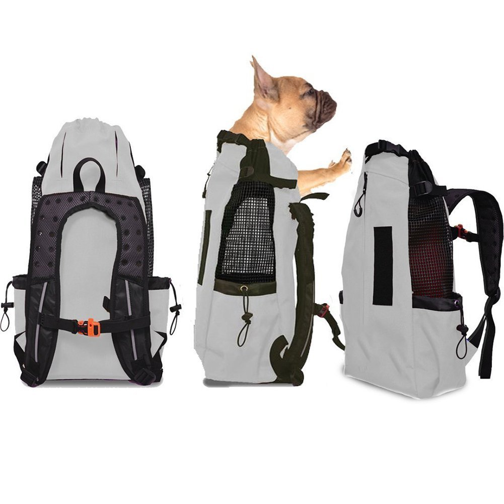 Grey WLDOCA Breathable Sport Dog Carrier Bag For Medium And Large Dog,Comfortable Back And Shoulder Padding,Breathable Sport Dog Carrier Bag,Travel Riding Hiking