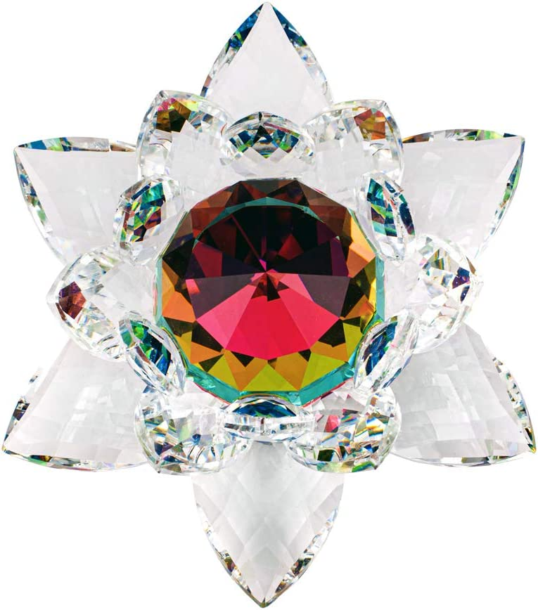 3 inch Green Hue Reflection Crystal Lotus with Gift Box USA Seller!