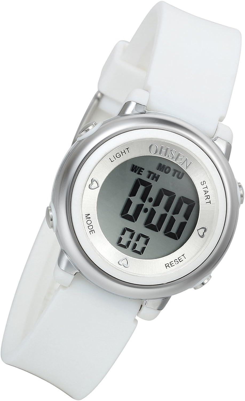 Lancardo Reloj Deportivo Digital de Multifunciones Impermeable de 50m Pulsera Electrónica con Luces Correa de Caucho para Deportes Exteriores para Niños Chicos (Azul)