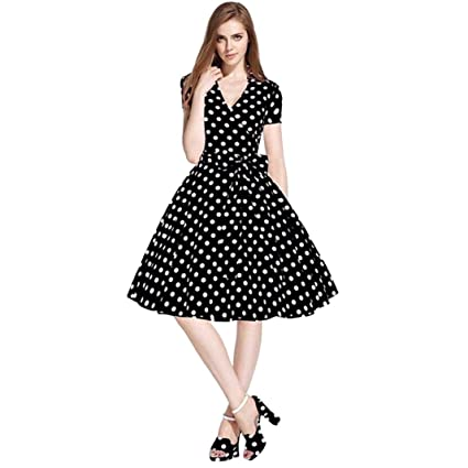 GoodLock Women Girls Fashion Dress Lady Female Vintage 50S 60S Swing Pinup  Retro Casual Housewife Party 60021dcba76e