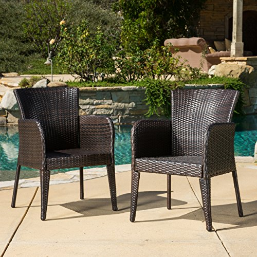 Cheap Great Deal Furniture (Set of 2) Seawall Outdoor Wicker Dining Chair