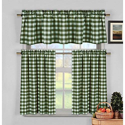 3 Piece Faux Cotton Espresso Brown Kitchen Window Curtain: Hunter Green Kitchen Curtains