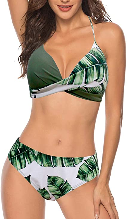 ELECTRI Femme Maillot de Bain 2 Pièces Bikini Set Trou Push